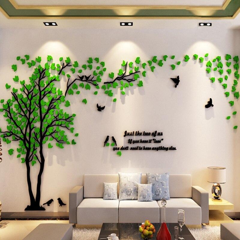 De gran tamaño acrílico decorativo 3D etiqueta de la pared de arte DIY Fondo de Televisión afiche para pared del hogar Decoración dormitorio habitación vinilos decorativos
