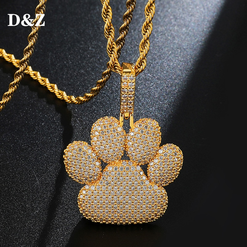 D & Z AAA CZ piedra pavimentada Bling helado Impresión de oso collar de colgantes helado Color plata oro Animal huella de pie colgante