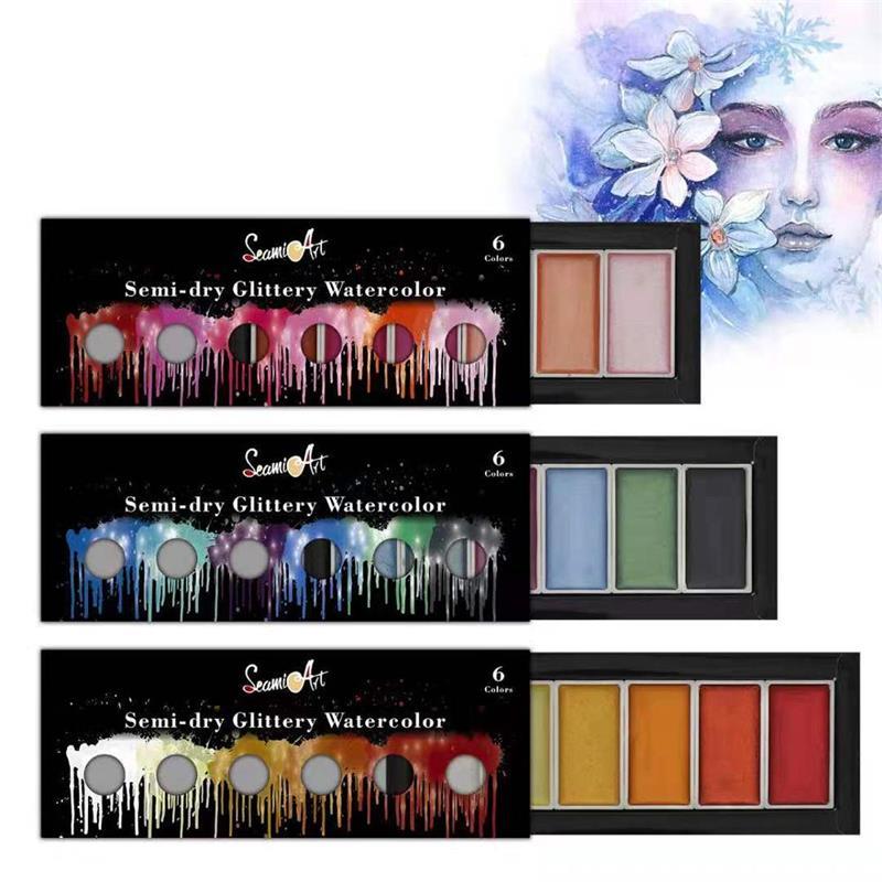 SeamiArt, 6 цветов, классная/теплая/металлическая фотография, Набор цветных красок для художника, блестящая краска, водная фотография, пигмент, и...