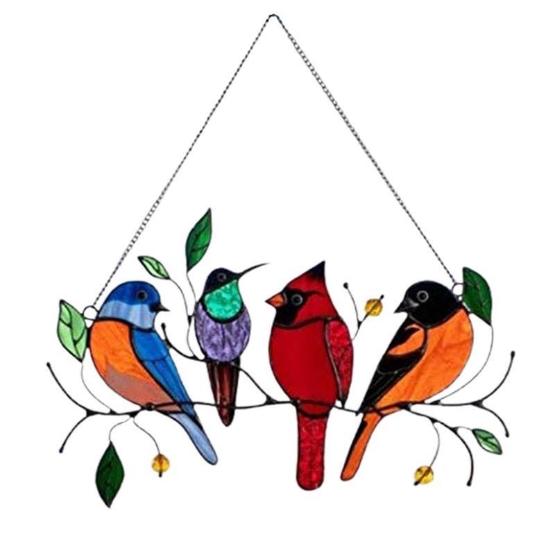 Mini Stained Bird Creative Birds Glass Window Wall Hangings Mothers Day Gift Home Garden Decor Accessories