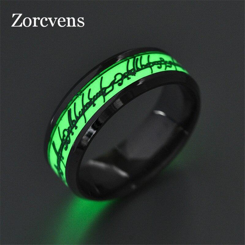 Anillo Modyle Verde que brilla en la oscuridad para hombre, anillo luminoso de boda, anillo de alianza de boda de acero inoxidable para hombre