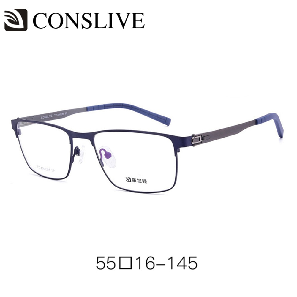 Monturas de gafas ópticas de titanio para hombres, montura de gafas graduadas, bisagra de resorte, gafas oftálmicas de titanio V6902