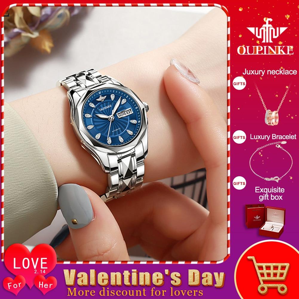 OUPINKE Top Luxury Brand Women Automatic Mechanical Watch Masonry Grade Waterproof Stainless Steel Watchstrap Women Wristwatch