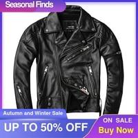 2021 black men american motorcycle leather jacket plus size xxxxl genuine cowhide autumn slim fit bikers coat free shipping