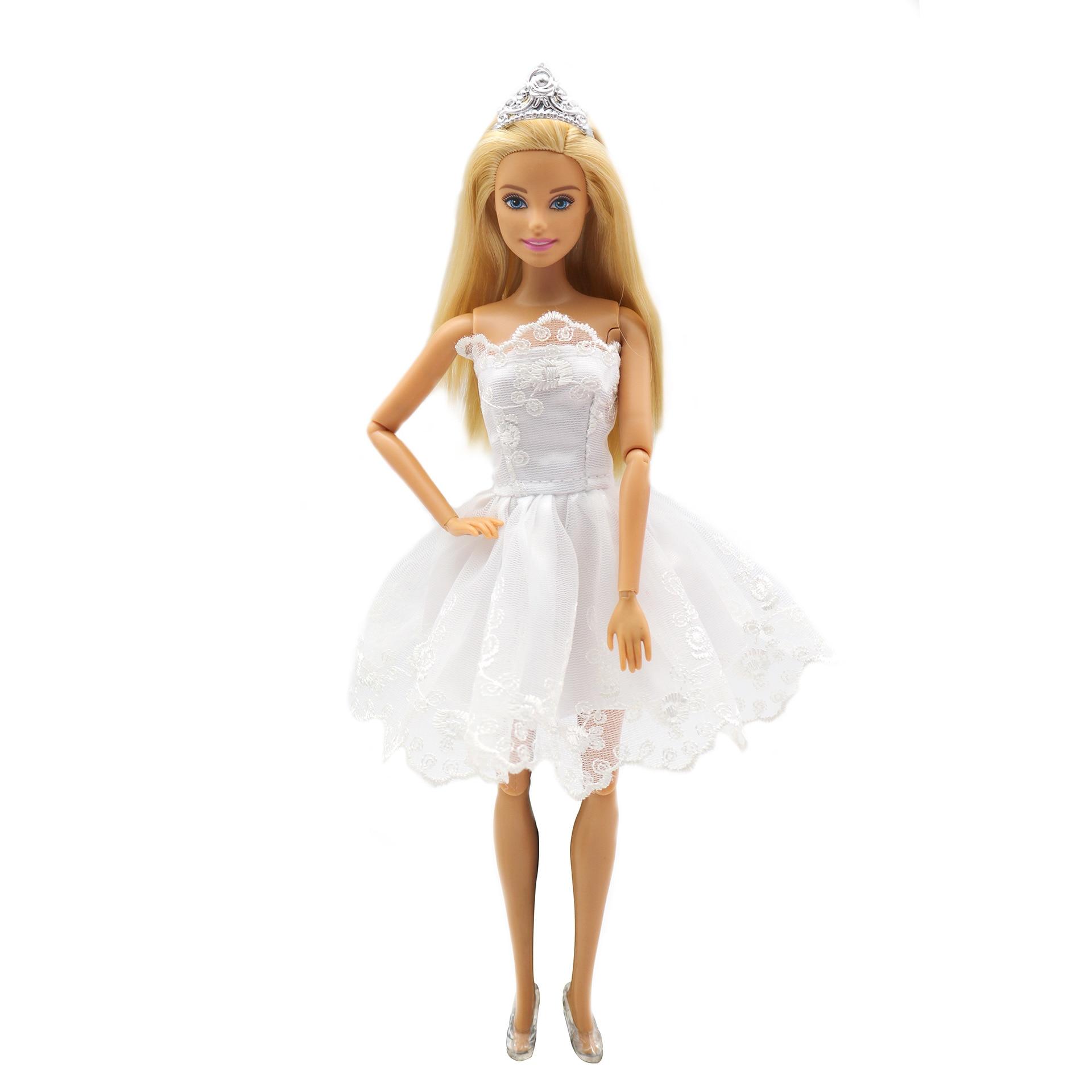 Branco princesa vestido bjd boneca roupas para barbie acessórios jogar casa vestir-se