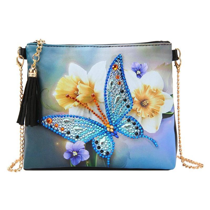 Mariposa flor Peafowl 5D DIY forma especial diamante pintura cuero bolso bandolera con cadena mujer embrague regalo de Navidad para niña