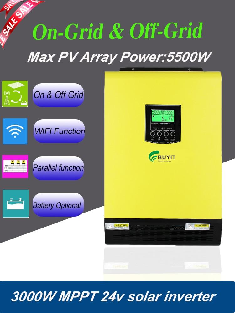 محول هجين شمسي بشبكة 3000 وات وإيقاف تشغيله بمدخل 24 فولت بف 5500 وات MPPT 90A مع WIFI وبموازية لا يمكن أن يعمل أي بطاريات