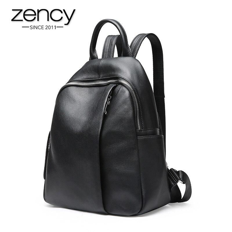 Zency design anti-roubo mochila feminina 100% couro genuíno clássico preto saco de escola para meninas diário casual mochila de viagem