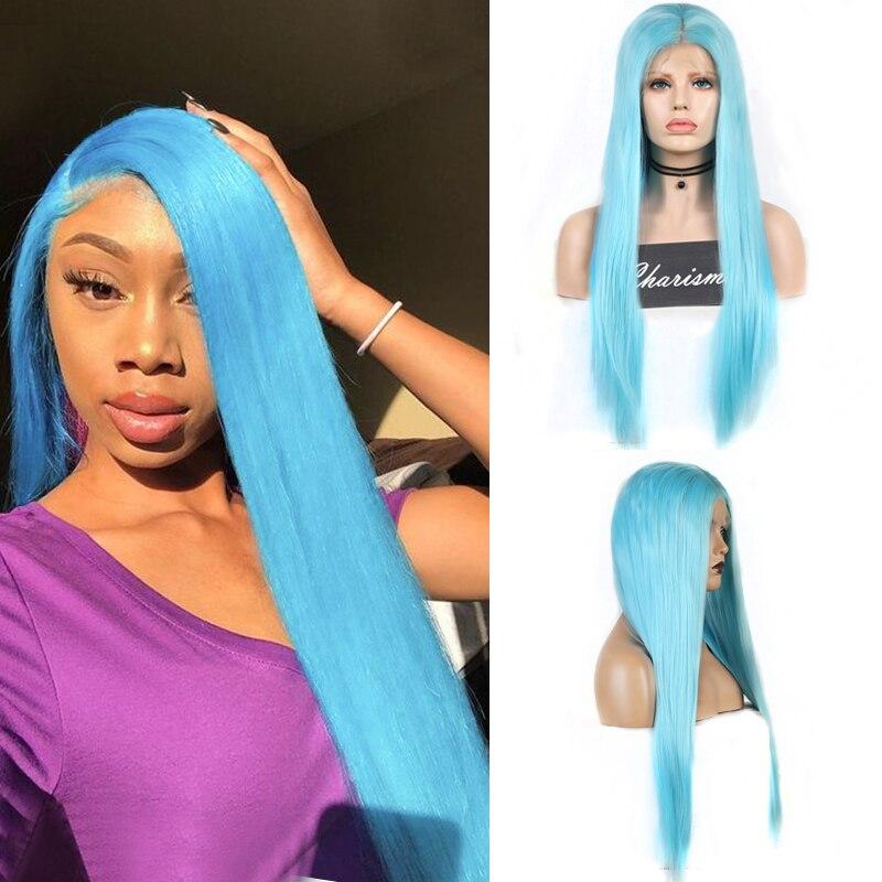 Carisma resistente ao calor do cabelo peruca azul seda reta peruca dianteira do laço sintético para perucas de cabelo longo para mulher