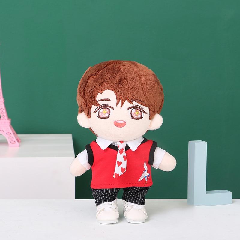 Envío Gratis 20CM 15CM Kpop EXO BLACKPINK muñeca ropa suéter chaleco camiseta pantalones corbata traje JK uniforme de la escuela traje