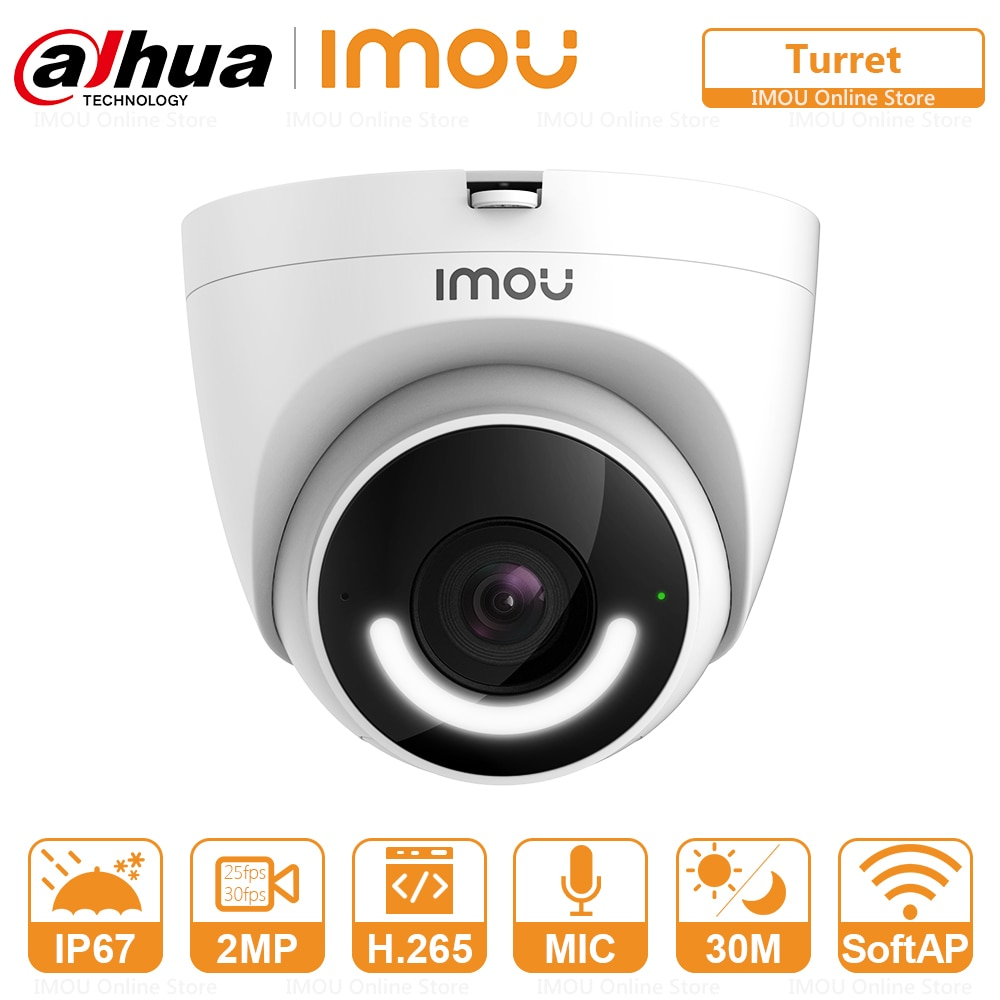 Imou Security IP WIFI Camera Turret IP67 Waterproof Active Deterrence Siren Human Detection Built-in