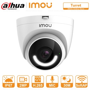 DAHUA Security IP WIFI Camera Turret IP67 Waterproof Active Deterrence Siren Human Detection Built-in Wi-Fi Hotspot Two-Way Talk