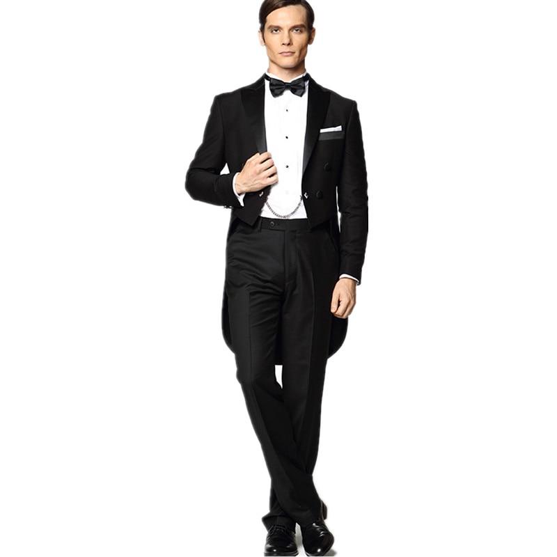 الرجال مخصص اثنين من بلايز + السراويل الرجال الساخن المعاطف السوداء بدل زفاف العريس البدلات الرسمية للحفلات الدعاوى مساء
