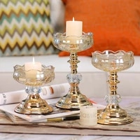 glass crystal candle holder decoration nordic home romantic candlelight dinner props european style aromatherapy candle holder
