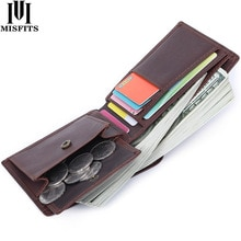 MISFITS 100% Top Quality Men Wallets Genuine Cow Leather Handmade Purse For male Minimalist Mini Wal