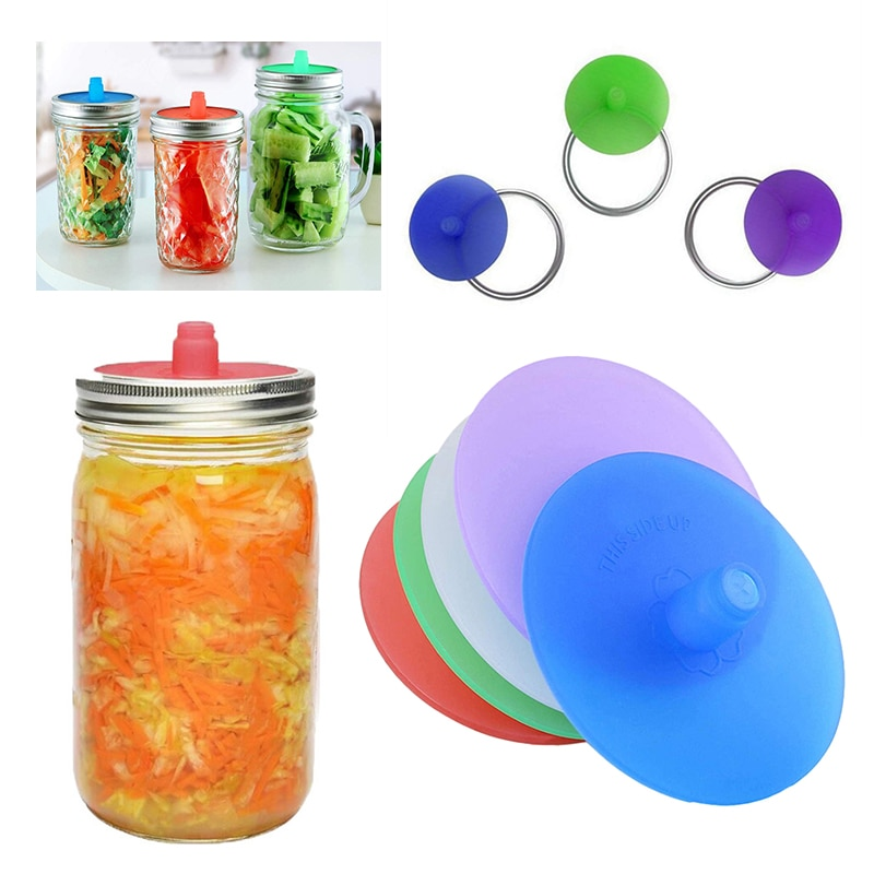 New 86MM Silicone Waterless Airlock Fermentation Lid With Metal Ring For Wide Mouth Mason Jar For Sauerkraut Fermented Kitchen