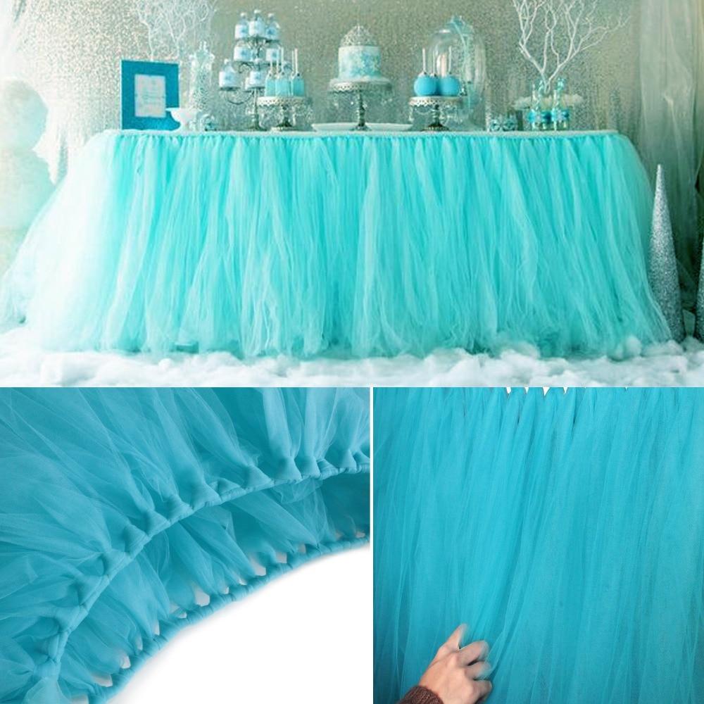 Decoración romántica de boda de 80x100cm, falda de mesa de tul, faldas de mesa de tutú DIY, Recuerdo de niña, decoración de Mesa para el hogar