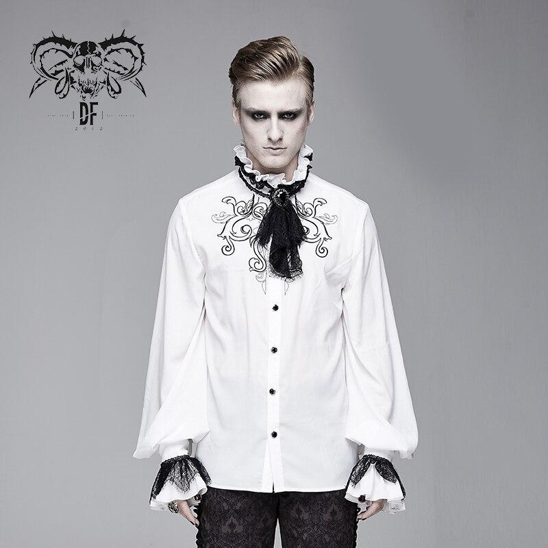 Camisa de diablo a la moda para hombre con bordado de Moda Gótica, Corbata extraíble, blusa Formal para fiesta de boda con mangas abullonadas