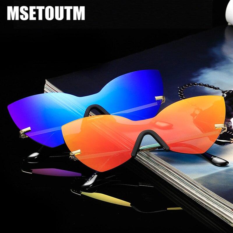 MSETOUTM 2020 Sunglasses Women Cat Eye Metal Classic Fashion Dazzle Color Retro Brand Designer UV400 Sun Glasses 256