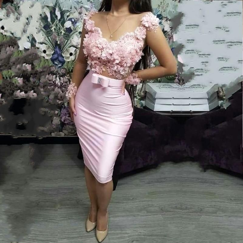 2020 Pink Cocktail Dresses Sheer Neck Cap Sleeve Sheath Flowers Appliqued Mini Short Prom Evening Gowns robe de soriee