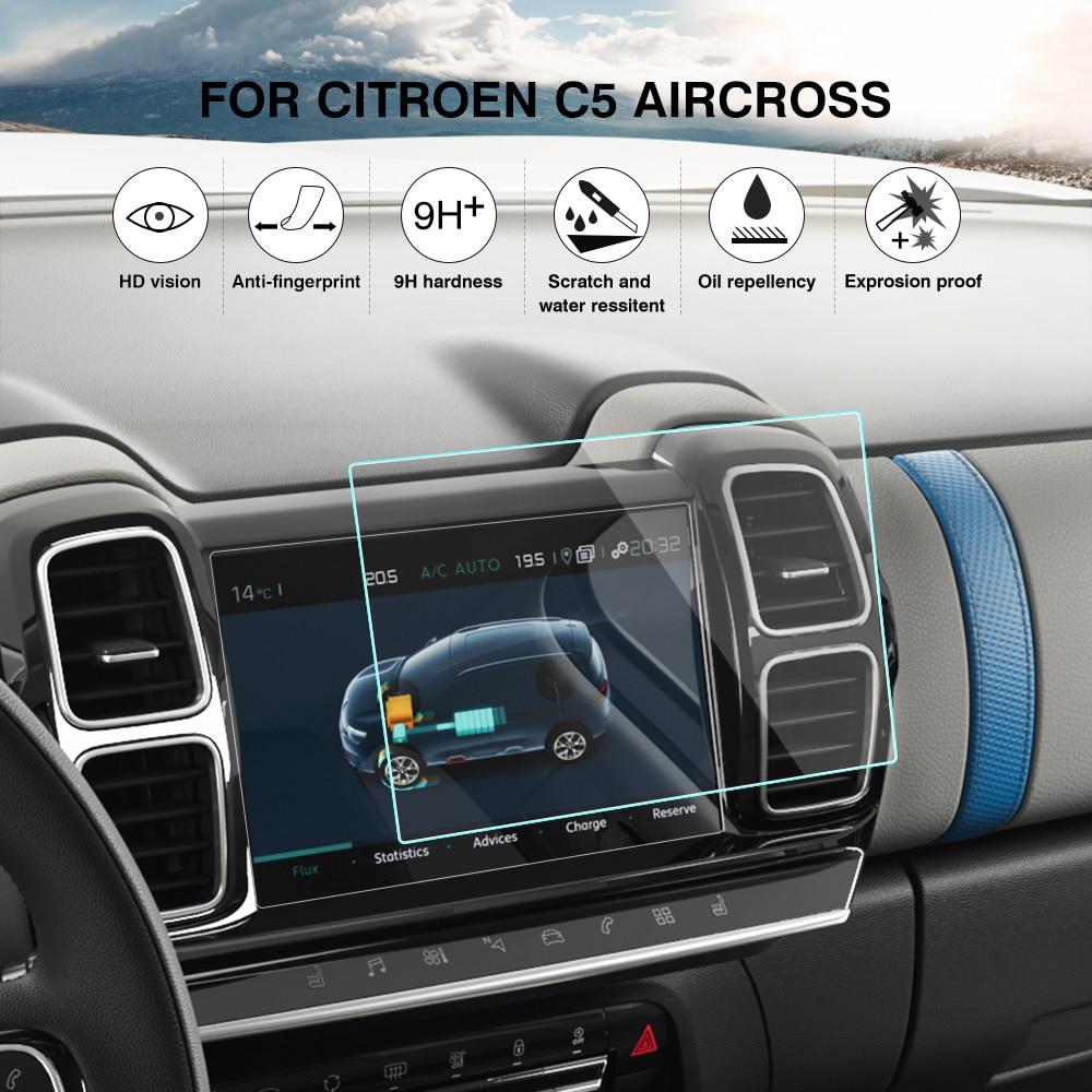 Protector de pantalla para Citroen C5 Aircross 2019 para pantalla de navegación GPS Protector de vidrio coche de la película de estilo