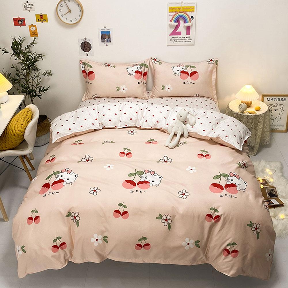 طقم سرير برسوم كرتونية من Papa & Mima على شكل قطة الكرز مُزين بنقشة الزهور بياضات كرتونية (غطاء لحاف من ورقة المخدة) التوأم الكاملة من البوليستر
