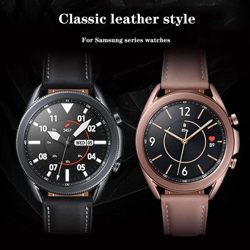 Ремешок для часов из натуральной кожи для Samsung Galaxy watch 3 41 мм 45 мм 46 мм Ремешки для наручных часов Ремешок для смарт-часов 22 мм 20 мм ремешки