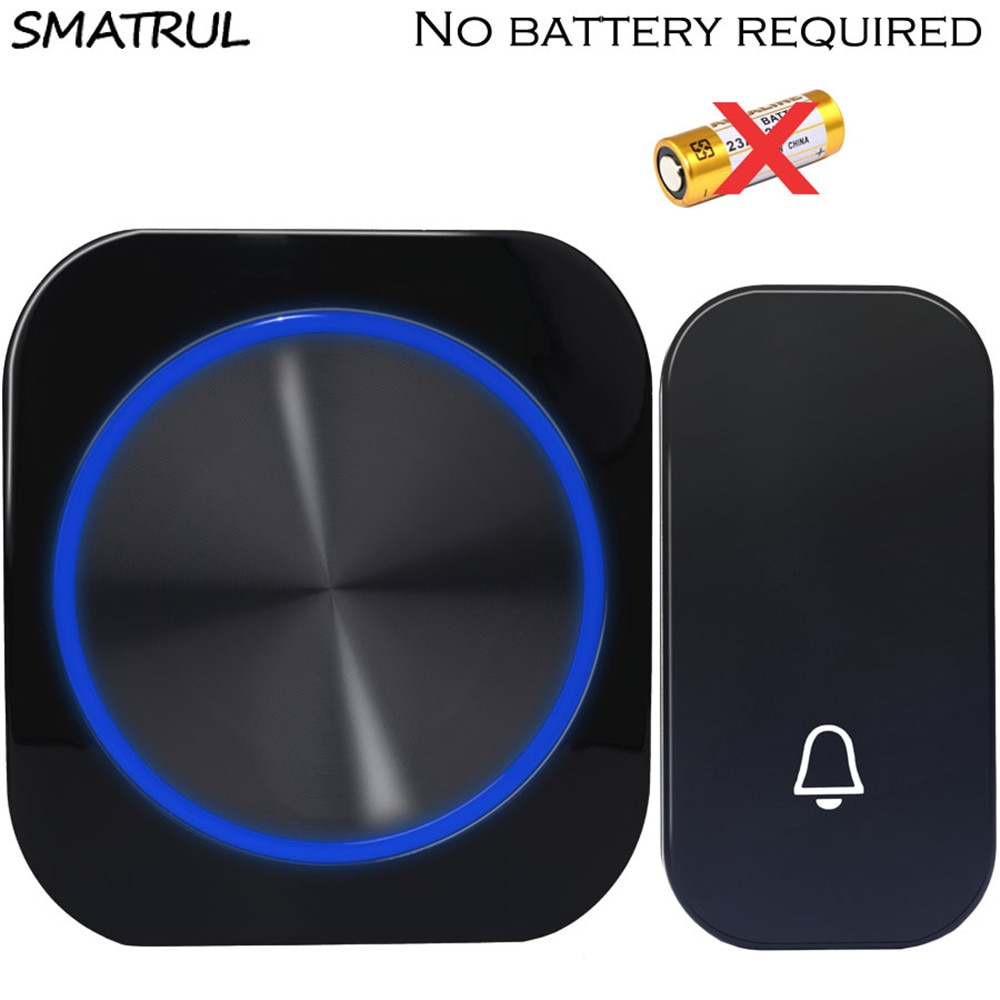 SMATRUL Self Powered Waterproof Wireless DoorBell Door Bell Night Light No Battery EU Plug Smart Hom