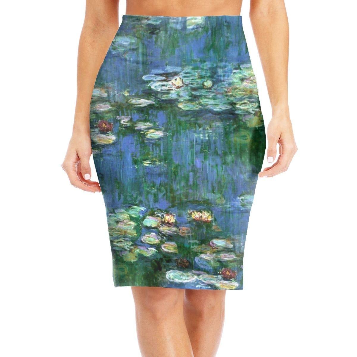 السيدات أربعة مواسم كلود مونيه المياه لوتس المرأة عالية الخصر نحيل منتصف طول فستان كاجوال S-XL
