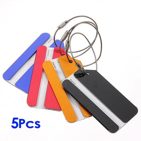 Nuevo-5 piezas vacaciones Metal equipaje maleta ID etiqueta hebilla dirección etiqueta titular-Color aleatorio
