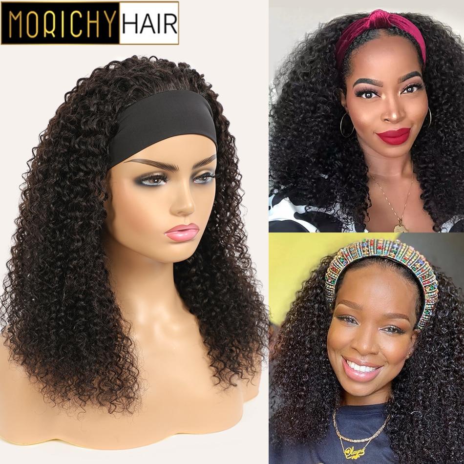 Morichy Wholesale Kinky Curly Headband Wig Human Hair Wigs For Women Brazilian Scarf Hair Wigs Glueless Headband Human Hair Wigs