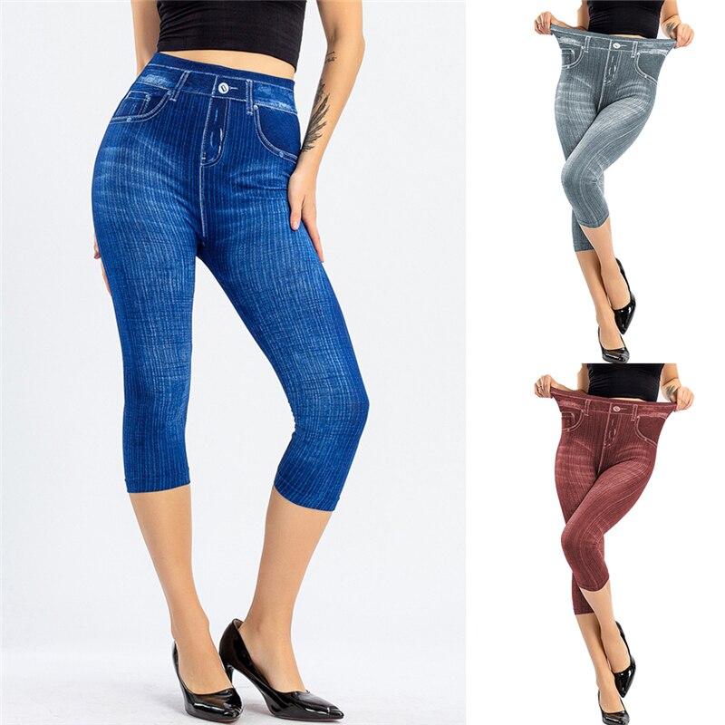Summer Women Fashion High Waist Skinny Jeans Knee Length Denim Capri Pants High Waist Skinny Jeans Knee Length Denim Pants middle waist skinny jeans