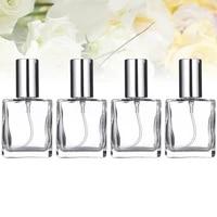 4 pcs 15ml transparent square flat spray bottle glass empty spray bottle perfume liquid dispenser for makeup skin care silver