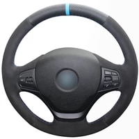 black synthetic leather black suede light blue marker car steering wheel cover for bmw f30 316i 320i 328i
