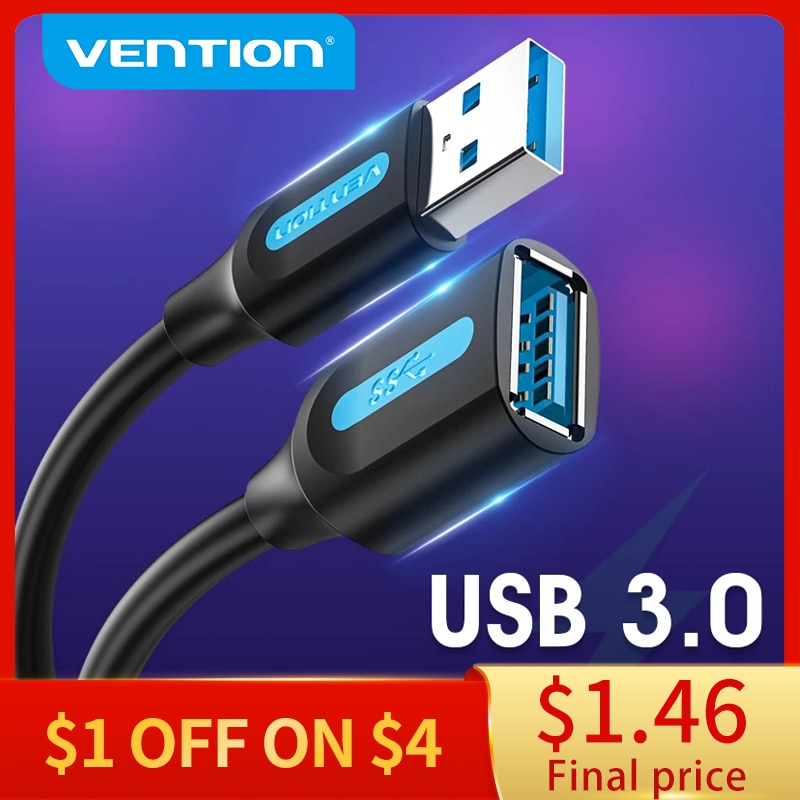Vention USB 3.0 Extension Cable 2.0 Extender Data Cord for PC Smart TV Xbox One SSD Fast Speed