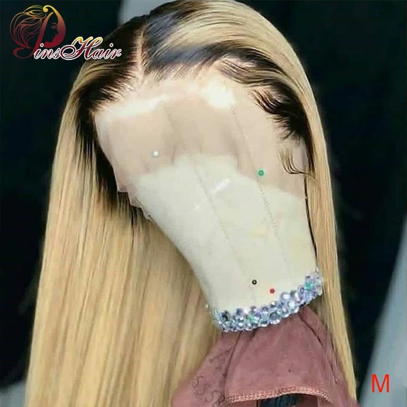 Peluca brasileña de cabello humano de encaje completo Pinshair Rubio degradado pelucas delanteras de encaje T1B/613 pelucas de encaje completo cabello no remy 150 con cabello de bebé