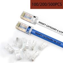 RJ45 Connector 20/50/100/200/500pcs 8P8C UTP Gold plated Network Modular Plug Ethernet Cables RJ-45