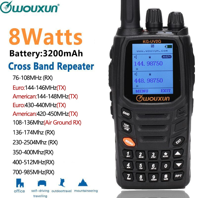 Wouxun KG-UV2Q 8 واط مكرر الدائرة الكلاسيكية اسلكية تخاطب powerfrol 7 العصابات/الهواء الفرقة عبر الفرقة ترقية KG-UV9D زائد