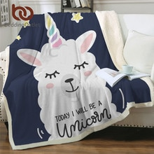 BeddingOutlet Unicorn Alpaca Sherpa Blankets Llama Sheep Fleece Throw Blanket Cartoon Kids Bed Blanket for Sofa manta Dropship