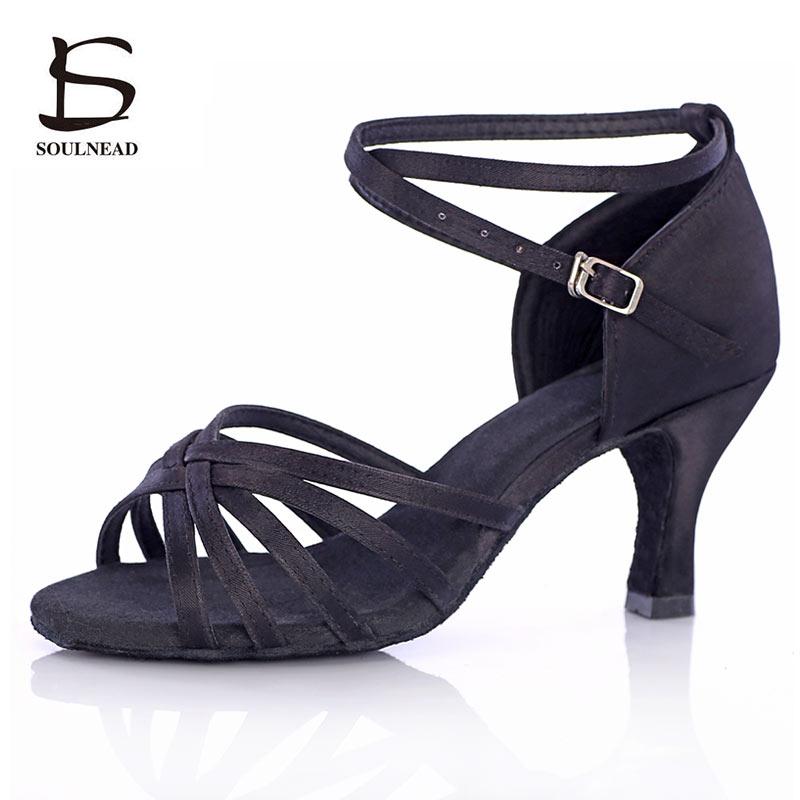 Salsa Latin Dance Shoes For Women Girls Tango Ballroom Dance Shoes High Heels Soft Dancing Shoes 5/7cm Ballroom Dance Sandals
