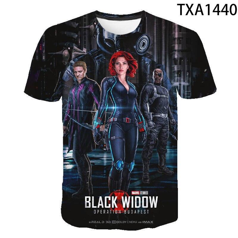 Camiseta con estampado 3D de viuda negra para hombre y mujer a...