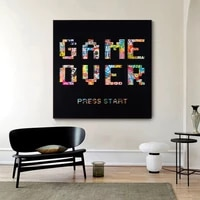 abstract graffiti game over poster printing wall pictures for living room home decor animals graffiti art letter canvas prints