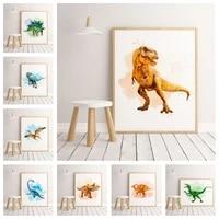 Peinture aquarelle de dinosaure de style minimaliste europeen  affiche de decoration de maison pour chambre denfants  decor artistique de haute qualite