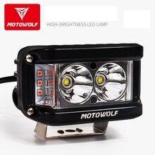 MOTOWOLF 12v-72v 25W Luce del Punto del LED Del Motociclo ATV Barca Off Road Faro Impermeabile con interruttore E la Staffa Per Honda Yamaha
