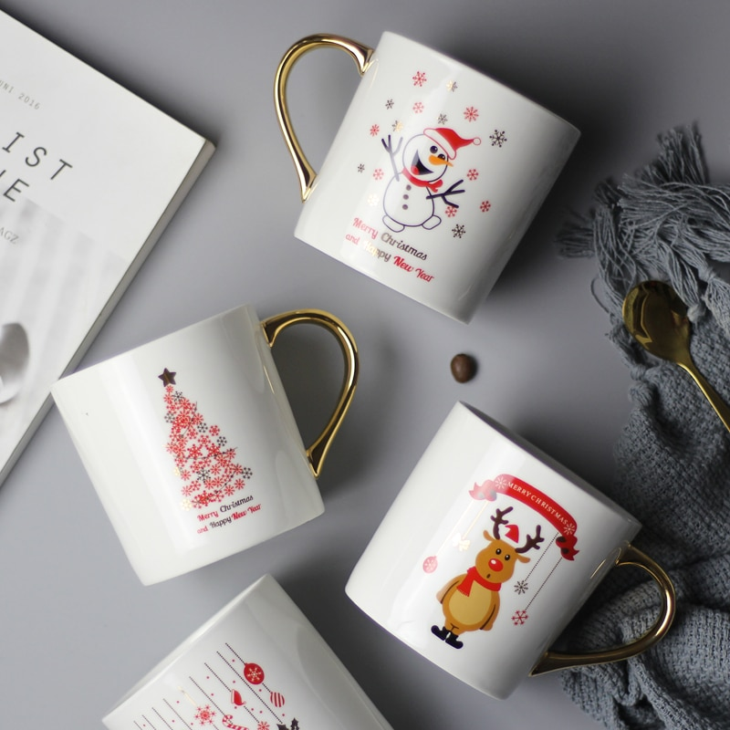 فنجان القهوة كريستما سانتا كلوز نمط قدح قهوة من السيراميك مع الذهب مقبض الهدايا الخزف كوب حليب الشاي