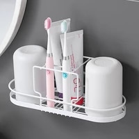 nordic bathroom metal shelf couple toothbrush rack household tooth cup wall mount set simple home hotel bath storage stand