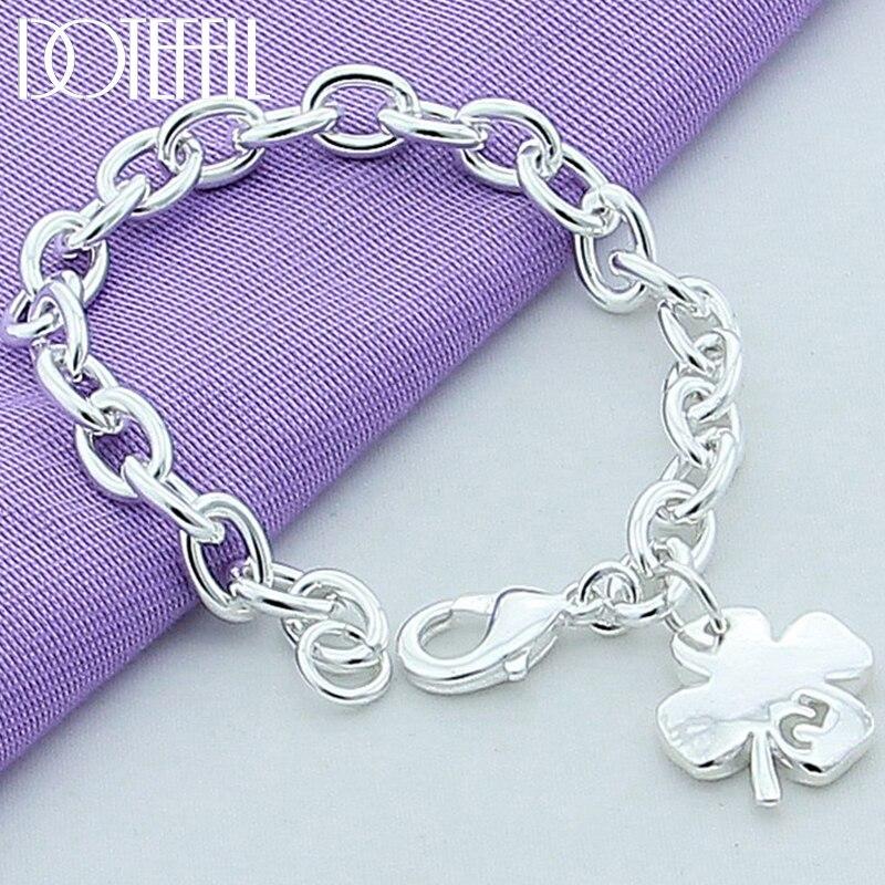 Doteffil 925 prata esterlina trevo folhas número da sorte 5 pulseira 20cm corrente feminino casamento noivado festa jóias