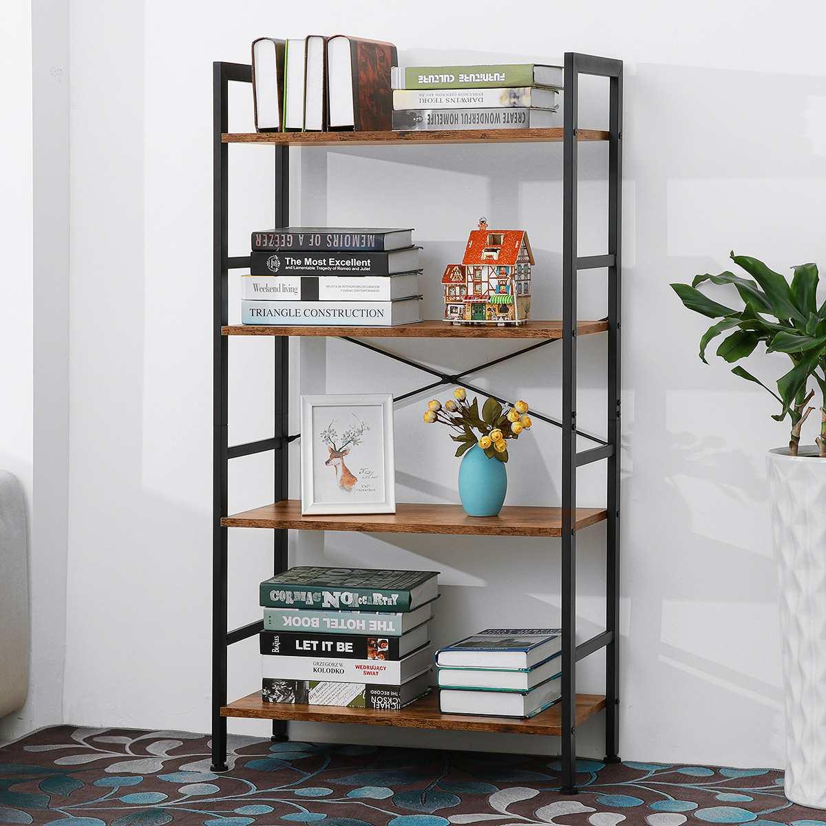 63x30x120 سنتيمتر 4-Tier الصناعية سلم خزانة الكتب إطارات معدنية رفوف التخزين المنظم رف شاشة 70lbs للديكور المنزل