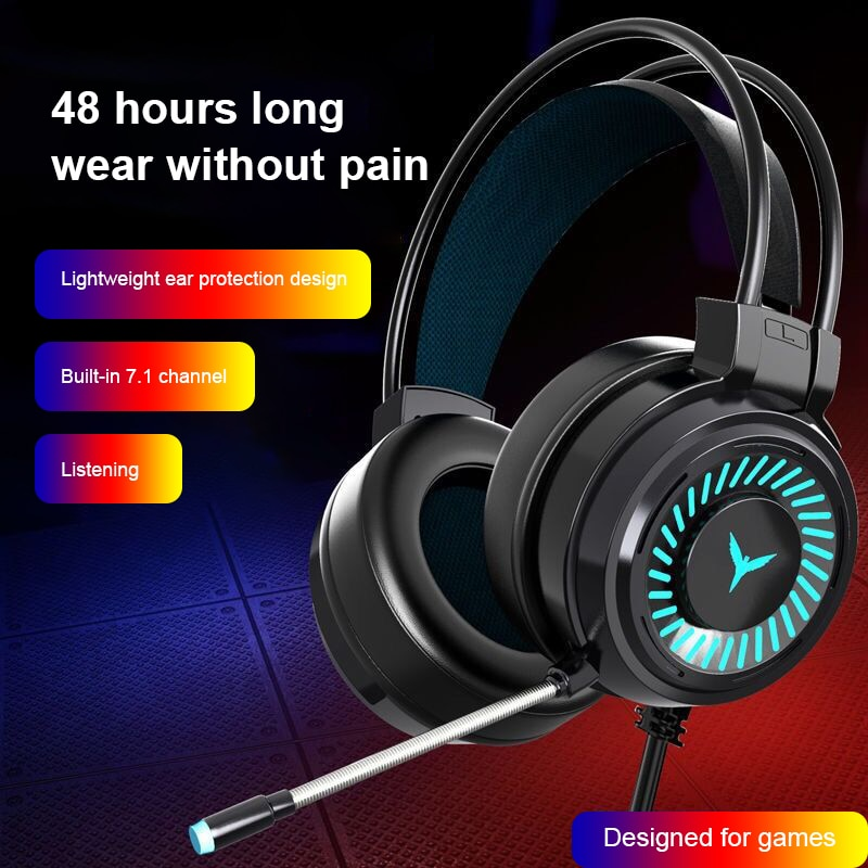 Gaming Headsets Gamer Headphones Surround Sound Stereo Wired Earphones USB Microphone Colourful Ligh