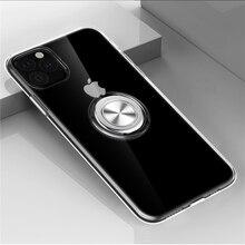 Étui Anti choc Transparent pour Apple iPhone 11 Pro Xs Max XR X 8 7 6 6s Plus anneau magnétique Transparent étui pour iPhone 11 Pro Max XsMax